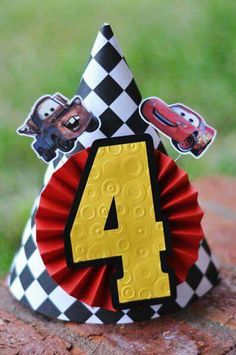 Disney Cars Party, Disney Cars Birthday, Car Themed Parties, Cars Birthday Parties, 3rd Birthday, Lightning Mcqueen Party, Race Car Party, Relâmpago Mcqueen, Party Hats