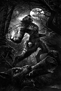 Shaman's wolf pack by DusanMarkovic Dark Fantasy Art, Fantasy Artwork, Dark Art, Werewolf Legend, Werewolf Art, Arte Horror, Horror Art, Warewolf Tattoo, Fantasy Creatures