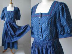 Vintage Retro German Bavarian Folk Ethnic Dress Dirndl Blue Long Apron UK 12
