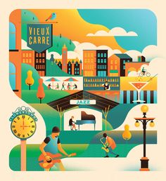 Twin Cities Jazz Festival on Behance, flat illustration graphic design work