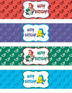 Binge Crafter: FREE Little Mermaid Happy Birthday Printable Water Bottle Labels