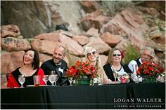 The toast! Wedding Party head table.  Black, white and red wedding colors. Louland Falls, Utah.