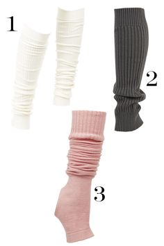 Don't be scared by the unsavory '80s associations—these knit dance must-haves can be worn layered over your bottoms or alone as compromise between wearing tights and going bare-legged in between seasons. We love them in ballet pink and neutrals. 1. Wolford Fine Merino Rib Legwarmers, $82; zappos.com. 2. Hue Ribbed Leg Warmer, $14; lorisshoes.com. 3. Ballet Beautiful Lily knitted jersey legwarmers, $90; net-a-porter.com.   - MarieClaire.com