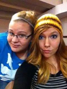 Me and lizzy :) I love stocking caps with curled hair <3