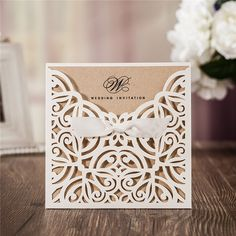 Romantic and foil ivory folded castle wedding invitations - Laser Cut Wedding Invitations: Stylish Stationery for Your Big Day.Signup for our newsletter to get notified about sales and new product Laser Cut Wedding Invitations, Beach Wedding Invitations, Wedding Invitation Wording, Party Invitations, Cricut Invitations, Laser Cut Invitation, Invitation Set, Invitation Templates, Estilo Floral