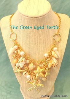 Sea Shells and Starfish  Charms Necklace by TheGreenEyedTurtle