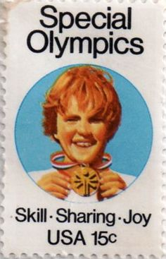 US postage stamp, 15 cent.  Special Olympics.  Skill - Sharing - Joy.  Issued 1979.  Scott catalog 1788.