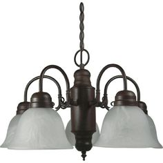 Y-Decor Mike 5 Light Chandelier Dark Finish with Frosted Marble