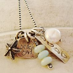 beach girl necklace .. ocean jewelry! I need this.... so if you forgot my birthday.... here it is....  :)