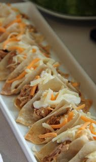 Mini tacos in baked wonton wrappers - from Jo and Sue - brilliant idea!