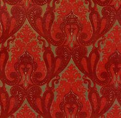 Burgundy and Red Kismet Ornate Indian damask velvet flocked wallpaper: VCC0655 | Glossy Mylar Metallic Wallpapers