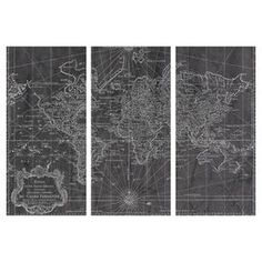 World Map 1778 3-Panel Canvas Print, Oliver Gal