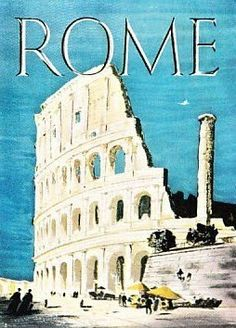 Vintage travel poster for Rome, Italy Vintage Italian Posters, Vintage Travel Posters, Retro Poster, Poster S, Places To Travel, Places To Visit, Illustrations Vintage, Photo Vintage, Retro Vintage
