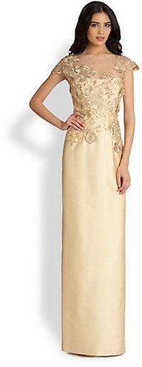 Teri Jon by Rickie Freeman Lace-Applique Gown