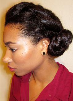 With air dried hair swept bang high bun no geled elasta qp twisted bun on relaxed hair httpfreshlengthsspot pmusecretfo Gallery