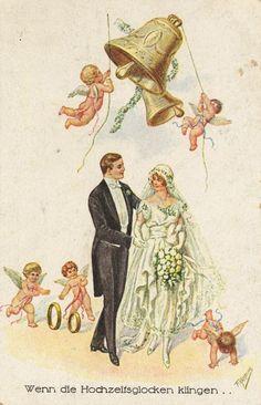 "Vintage German wedding postcard - ""When the Wedding Bells Ring"" Vintage Wedding Cards, Wedding Postcard, Vintage Cards, 1920s Wedding, Wedding Ideas, Wedding Bells Clip Art, German Wedding, Wedding Illustration, Wedding Scene"