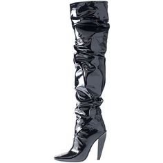 TOM FORD Scrunched Patent 105mm Boot, Black ($2,345) ❤ liked on Polyvore featuring shoes, boots, ruched boots, scrunch boots, kohl boots, patent leather shoes and patent leather boots