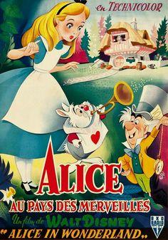 VINTAGE BLOG - French poster for Alice in Wonderland - Disney version, 1951