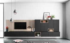 Progetto 2 - Living: le basi sospese ed i pensili di profondità diversa offrono dinamismo e versatilità all'ambiente. La finitura è il raffinato Fenix NTM® nero, morbido al tatto.