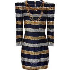 Striped sequin dress (159,400 INR) ❤ liked on Polyvore featuring dresses, vestidos, vestiti, balmain, women, 3/4 sleeve sequin dress, navy 3/4 sleeve dress, navy cocktail dress, balmain dress and three quarter sleeve dress