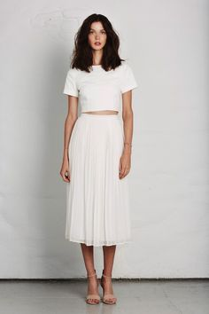 All white.. crop top and pleated midi skirt