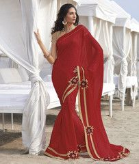 Red Color Georgette Party Wear Sarees : Shelja Collection  YF-40096