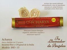 Acharya - Incienso tipo masala elaborado artesanalmente a base de ingredientes naturales de calidad Premium. Cautivador aroma floral suave. Ideal para Limpiar Energías negativas, ambientes cargados y armonizar espacios.