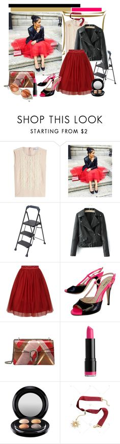 """""""Red Tule Skirt"""" by tia2 ❤ liked on Polyvore featuring RED Valentino, WithChic, Miu Miu, Gucci, NYX and MAC Cosmetics"""
