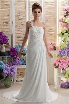 Amazing Sheath/Column One-shoulder Floor-Length Court Appliques Daria's #Wedding Dress