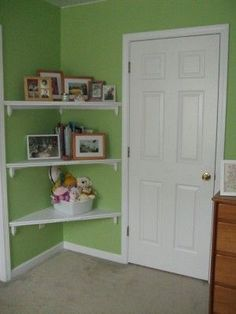 Corner shelves behind door... perfect way to utilize wasted space