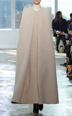 Long A Line Coat With Front Pleat by DELPOZO for Preorder on Moda Operandi