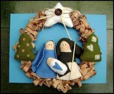 another option for December Nativity Ornaments, Christmas Nativity Scene, Nativity Crafts, Felt Christmas, Felt Ornaments, Christmas Projects, Christmas Holidays, Christmas Decorations, Christmas Ornaments