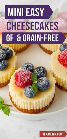 These mini gluten-free cheesecakes are perfect for when you don't need a full cheesecake! They're so much easier and they freeze great. They're also grain-free and delicious! #cheesecakes #minicheesecakes #grainfree #glutenfree Gluten Free Cheesecake, Mini Cheesecakes, Dessert Recipes, Desserts, Freeze, Grain Free, Gluten Free Recipes, Free Food, Glutenfree