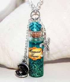 Mermaid Tears in Glass Bottle Potion Necklace with Starfish and Seashell charms from Pirates of the Caribbean