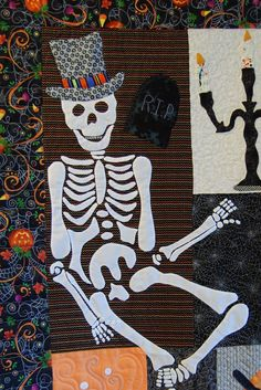 Skeleton applique block, in:  Happy Hauntings quilt by Karen Marchetti (Creative Longarm Quilting).  Design by Verna Mosquera at The Vintage Spool