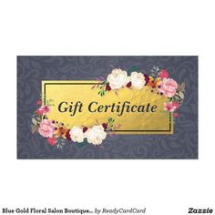 Blue Gold Floral Salon Boutique Gift Certificate Business Card