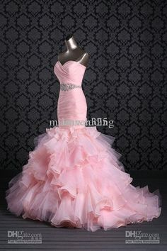 2014 Hot sale New Style Gorgeous Organza pink white ----> I like it, I just want a different bottom look (different design at the bottom)