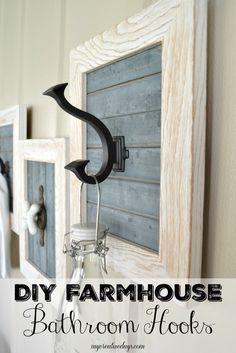 mycreativedays: DIY Farmhouse Bathroom Hooks Entry Coat Hooks, Diy Coat Hooks, Decorative Coat Hooks, Rustic Coat Hooks, Entryway Hooks, Rustic Wall Hooks, Farm House Bathroom Decor, Diy Bathroom Furniture, Bedroom Furniture