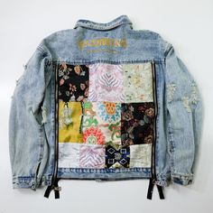 Dapper Dope Sexy Super Vintage Denim Light Blue Chinese Pattern Japanese Kimono Obi Remake Embroidery Embroidered Deconstructed Side ZIP Flower Flowers Sukajan Bomber Souvenir Denim Jacket ( Size : M ) Painted Denim Jacket, Painted Jeans, Denim Jacket Patches, Denim Jackets, Patch Jean Jacket, Dope Jackets, Diy Clothes, Clothes For Women, Denim Outfit