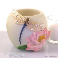 Votive Candle Holder: Blue Dragonfly on Pink Lotus Flower, Water Lily, Nature Decor, Dragonfly Decor, Swarovski Elements Crystal Rhinestones...