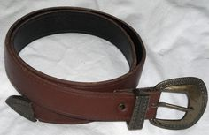 """Vintage Brown Belt with Brass Accents Size S Fits 26"""" - 29"""" Waist Free Shipping   $17.00"""