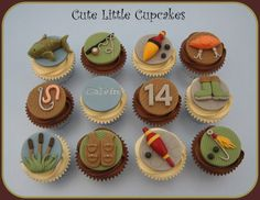 Chocolate Salted Caramel and Classic Vanilla cupcakes decorated with fishing themed handmade fondant toppers x Ocean Cupcakes, Fishing Cupcakes, Cupcakes For Men, Themed Cupcakes, Fish Cake Birthday, Birthday Cakes For Men, Fondant Cupcake Toppers, Cupcake Cakes, Fondant Fish
