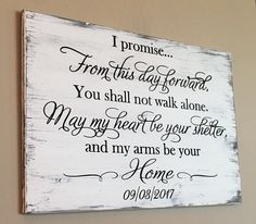 I promise From This Day Forward Engraved Wood Wall Art For Weddings Rustic Wedding Vow Wood Sign, From This Day Forward, Carved Wood Sign, I Promise Wood Sign, Wood Wedding Sign Perfect Wedding, Dream Wedding, Elegant Wedding, Trendy Wedding, How To Dress For A Wedding, Do It Yourself Wedding, Carved Wood Signs, Engraved Wood Signs, Painted Signs