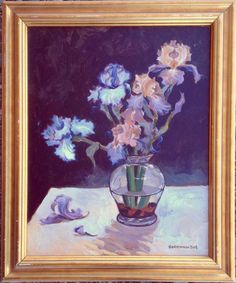 """""""Floral Arrangement #1 (framed)"""" by Rod Norman. Painting on Canvas, Subject: Flowers and plants, Impressionistic style, One of a kind artwork, Signed on the front, This artwork is sold framed, Size: 50.8 x 60.96 x 5.08 cm (framed), 20 x 24 x 2 in (framed), Materials: acrylics"""