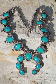 Vintage Southwestern Tribal Sterling Silver Turquoise Squash Blossom Necklace | eBay