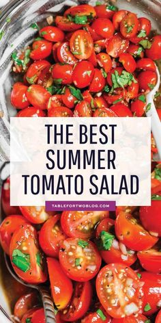 This is the best summer tomato salad! With a short ingredient list, this fresh salad will have you making it all summer long! Fresh Tomato Recipes, Tomato Salad Recipes, Vegetable Recipes, Marinated Tomatoes, Roasted Cherry Tomatoes, Cherry Tomato Salad, Tomato Pie, Grow Tomatoes, Tomato Soup