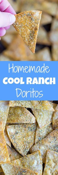 Healthy Snacks For Kids Homemade Cool Ranch Doritos - So easy to make and much healthier than the originals! These are gluten free and vegan and perfect for a healthy snack! Dairy Free Recipes, Vegan Recipes, Snack Recipes, Cooking Recipes, Doritos Recipes, Corn Tortilla Recipes, Doritos Taco, Homemade Tortilla Chips, Homemade Chips