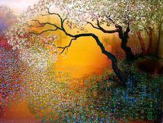 Misty Morning by Ton Dubbeldam. The Dutch painter is known for his landscapes and seascapes using an Impressionism and Pointillism technique. Landscape Art, Landscape Paintings, Guache, Inspiration Art, Dutch Painters, Dutch Artists, Tree Art, Oeuvre D'art, Contemporary Art