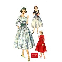 Rockabilly dress sewing pattern  50s Simplicity 2338 by HeyChica, $18.95