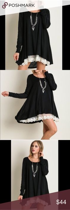 HOST PICK Lace Front Tunic black Feminine and fun lace trim hemline. Flirty, flowing, fabulous. 60% cotton, 40% polyester. Hand wash. As with all merchandise, Seller not responsible for fit nor comfort. Brand new w/o tags for boutique retail. No trades, no holding, no offsite payment.          PRICE IS FIRM UNLESS BUNDLED                    Bundle and save  Leoninus Tops Tunics